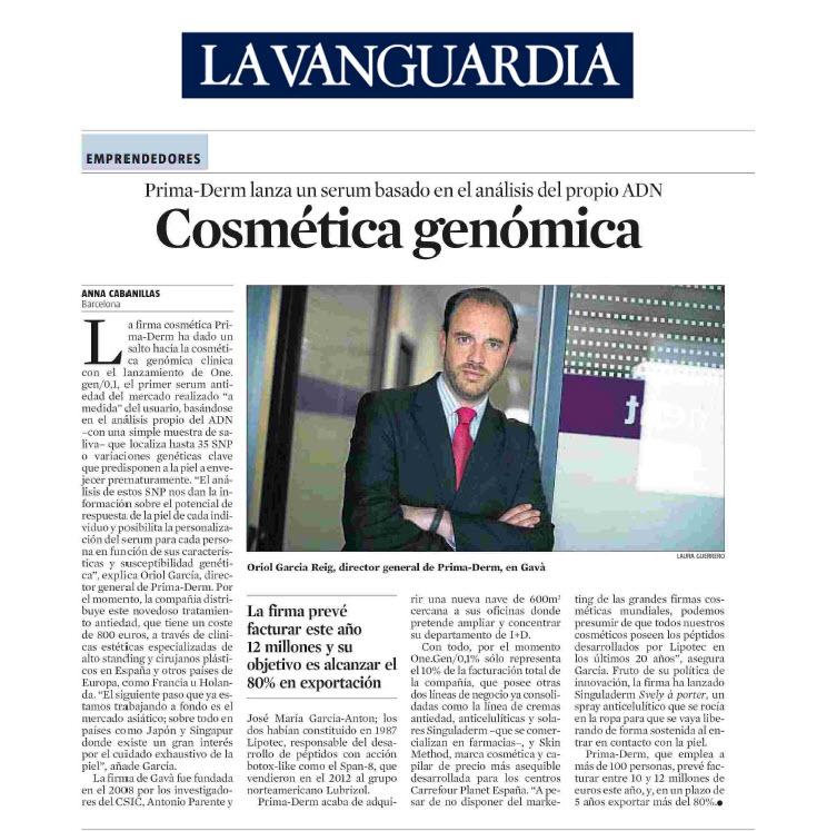 Oriol García Reig, Chief Operations Officer de Prima-Derm, entrevistado en La Vanguardia